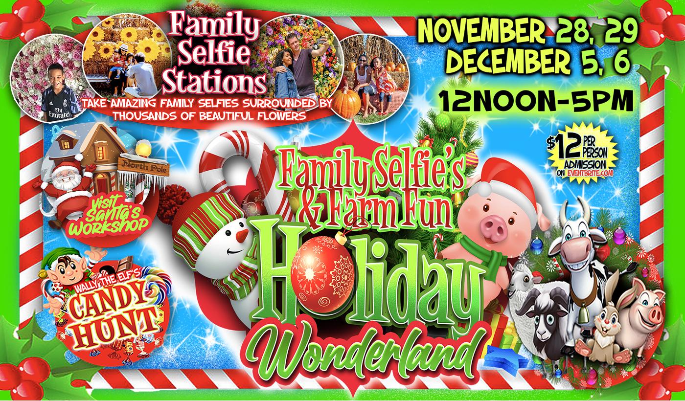 Green Meadows Farm Brooklyn Holiday Wonderland animals selfie flowers candy hunt santa workshop